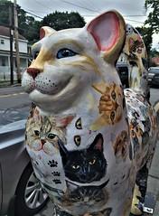 Cat Of Many Faces  [from Cat'n Around Catskill] (ArtFan70) Tags: catofmanyfaces catnaroundcatskill lauragarramone garramone catskill newyork ny unitedstates usa america art statue sculpture cat feline animals cats felines