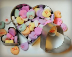 ~Conversations from the heart.... (nushuz) Tags: smileonsaturday heartshaped conversations from heart conversationsfromtheheart candyhearts colorful clever heartshapedcookiecutters heartsgalore food pastels