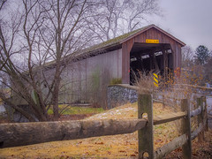 A Bridge not Far (Shannonsong) Tags: bridge lancastercounty pa pennsylvania fence wood trees coveredbridge landscape rural crossing