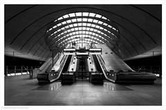 Cradle of Light / Canary Wharf, Docklands, London, UK (Andrew James Howe) Tags: tube underground lt mono blackandwhite canarywharf londontransport architecture london