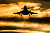 Last One On The Deck (Chris Gilligan) Tags: raf coningsby typhoon figther jet landing sunset heat haze silhouette base lincolnshire