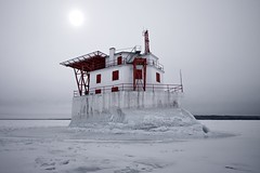 gros cap crib lightstation (twurdemann) Tags: architecture canada canadiancoastguard cold danger detailextractor frozen fujixt1 groscap groscaplighthouse groscapreef ice isolated lakesuperior landscape lighthouse lightstation lowwintersun marine maritime nikcolorefex ontario princetownship seascape shipping shoal snow solitude stmarysriver whitefishbay winter xf14mm