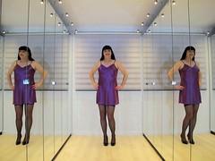 My mirror paradise (Paula Satijn) Tags: sexy hot girl gurl tgirl purple satin silk silky shiny nightie chemise nightdress dress smile happy joy fun mirror mirrors legs stockings sweet cute pumps heels