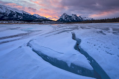 Fractured (Hilton Chen) Tags: winter canadianrockies landscape mountmichener colorfulsky sunrise fracture snow abrahamlake canada leadinglines ice alberta frozen clearwatercounty ca