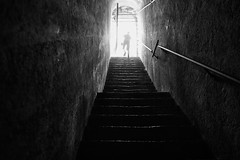 Let there be light (stefankamert) Tags: stefankamert light lettherebelight stairs railing bw baw noir noiretblanc tunnel dark rx1 rx1r mirrorless fullframe stairway castellodivezio castle italy lakecomo