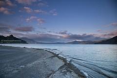 Lake Waikaremoana and Panekire range in early morning light, Te Urewera National Park (hueymilunz) Tags: landscape lake water sunrise blue nz newzealandtransition newzealand hawkesbay sky mountain clouds pink