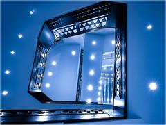 night blue (ingrid.lowis) Tags: architektur hamburg holstenwall5 kontorhäuser treppen treppenhäuser stairwell architecture color