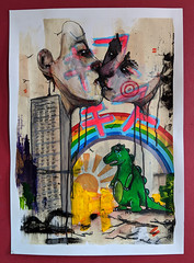Godzilla - The Final Kiss (id-iom) Tags: idiom street urban art godzilla final kiss rainbow monster tower block sun shine