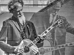 guitar man (albyn.davis) Tags: manipulation doubleexposure blackandwhite people portrait music beard man guitar