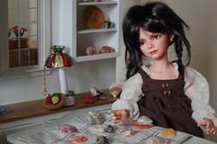 Lottie's  Seashells (Emily1957) Tags: lottie iplehouse bjd resin seashells dolls doll toys toy miniaturekitchen miniature light naturallight availablelight nikond40 nikon kitlens braid braids plait plaits pigtails tiffanylamp miniaturetiffanylamp
