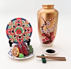 Traditional Japanese Life # 7 (MurderWithMirrors) Tags: rement miniature mwm plate platestand food meal lemon tuna sushi sashimi lettuce wasabi chopsticks chopsticksrest soy vase