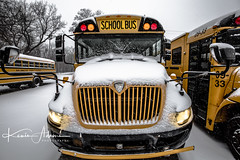 Just another school day in West Michigan (Kevin Adams.1) Tags: schoolbus school bus snow cold schoolclosed transportation students lights hdr westmichigan michigan winter january canon canon5dmarkiii wideangle windshield yellow lightroom bumper parkinglot parked hood grill mirror life american greyskies photography streetphotography stilllife