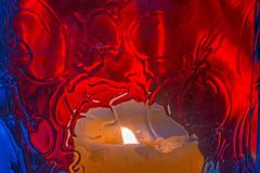 Candle-lit Glass (fotofrysk) Tags: macromonday flame candle jar etchedglassredbluecanadaontariothornhillcity markhamafs micro nikkor 105mm 28 g ednikon d7100 201801289191