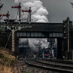 Steamy Crab (Peter Leigh50) Tags: train railway crab track bridge steam railroad rail rain wet weather february
