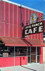 Dude Ranch Cafe, Malad City, Idaho (SwellMap) Tags: postcard vintage retro pc chrome 50s 60s sixties fifties roadside mid century populuxe atomic age nostalgia americana advertising cold war suburbia consumer baby boomer kitsch space design style googie architectur