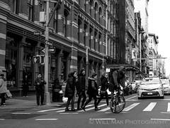 Balance (Will.Mak) Tags: newyorkcity newyork newyorkcitylife oneway soho nyc ny bicycle people peoplewatching crosswalk bw blackandwhite monochrome noir mono olympus olympuspenf penf m17mm f18 olympusm17mmf18 m17mmf18 17mmf18
