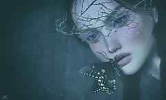 Yeri~Taking her last breath.... (Skip Staheli *FULLY BOOKED*) Tags: skipstaheli secondlife sl avatar virtualworld dreamy digitalpainting yeriakthcouturier butterfly moody portrait closeup dark