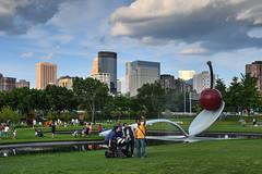 Downtown Minneapolis skyline from the Sculpture Garden (schwerdf) Tags: downtownminneapolisskyline hdr lowryhill minneapolis minnesota sculpturegarden spoonbridgeandcherry