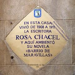 Placa Conmemorativa. Rosa Chacel (Madrid) (Juan Alcor) Tags: madrid placa conmemorativa rombo amarillo placamemoriademadrid generacióndel27 escritora rosachacel barriodemaravillas españa spain