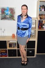 Tight skirt (Rikky_Satin) Tags: silk satin blouse scarf tight skirt highheels pumps pantyhose crossdresser transvestite secretary