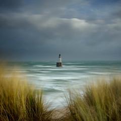 Rattray Head Lighthouse (burnsmeisterj) Tags: olympus omd em1 rattrayhead lighthouse scotland clouds sky sea beach grass waves