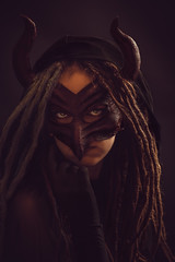 Eye Contact (trm42) Tags: maskedportrait dreadlocks ballinmalin moodygram medievalmask 85mm 4404a darkondark masked strobist masks devil portrait tfp tfcdsuomi dreads sonya7ii model horned horns leathermask collective4404a