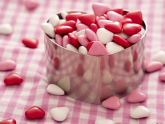 Love is all around! (me.behindthelens) Tags: smileonsaturday heartshaped hearts gingham tablecloth chocolate pink white red heart cookiecutter cookie reflections