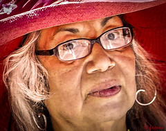 LADY IN A RED HAT - PRIDE 2017-1 (panache2620) Tags: minneapolispride pride woman candid portrait painterly busted spaotted eos canon streetphotography art