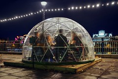 Care to join us for a drink? (PeterThoeny) Tags: london unitedkingdom uk igloo tent drink food bar socialize fun christmas celebration people city citynight light riverthames night sony sonya7 a7 a7ii a7mii alpha7mii ilce7m2 fullframe fe2870mmf3556oss 1xp raw photomatix hdr qualityhdr qualityhdrphotography fav100
