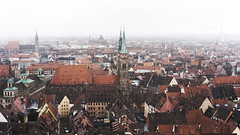 snow over Nuremberg (kadircelep) Tags: nuremberg city cityscape view cities snow travel roof germany roofs snowing