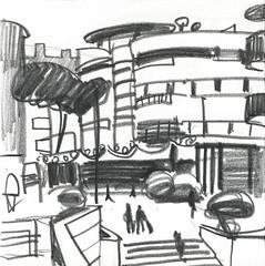 Square in Haifa, 21x21 cm, pencil on paper, 2018 (suzy_yes) Tags: ©mariazaikina haifa pencil landscape sketch drawing zeichnung
