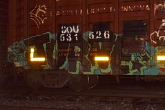 JURNE (TheGraffitiHunters) Tags: graffiti graff spray paint street art colorful freight train tracks benching benched night time jurne boxcar