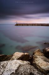 All roads lead to the sea. (Emykla) Tags: sea mare rocks bacoli napoli nikon d3100 sky clouds cielo nuvole teal sunrise alba