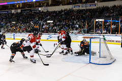 """Kansas City Mavericks vs. Cincinnati Cyclones, February 3, 2018, Silverstein Eye Centers Arena, Independence, Missouri.  Photo: © John Howe / Howe Creative Photography, all rights reserved 2018. • <a style=""""font-size:0.8em;"""" href=""""http://www.flickr.com/photos/134016632@N02/39220094625/"""" target=""""_blank"""">View on Flickr</a>"""