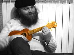The ukulele lesson (dagherrotipista) Tags: ukulele strumento instrumento music musica blancoynegro biancoenero blackandwhite selectivecolors nikond60 autodidatta lesson lezione txapela