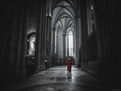 Priest -  Cologne Cathedral (Sebastian Bayer) Tags: köln kathedrale dom gewand säulen religion kirche selektivefarben mosaik mensch geschichte mönch fenster kutte mystisch schwarzweis katholisch architektur kölnerdom