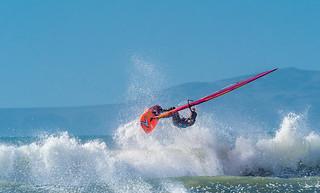 Windsurfing on Newgale Beach, Pembrokeshire.