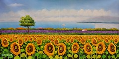 In Fields Where Daisies Grow, Art Painting / Oil Painting For Sale - Arteet™ (arteetgallery) Tags: arteet oil paintings canvas art artwork fine arts sunflower flower spring summer yellow plant flowers bright blossom floral natural bloom leaf color field flora daisy sunflowers sun fresh freshness season meadow sky pretty happy blooming rural orange colorful grass sunlight vibrant plants landscapes fields purple paint