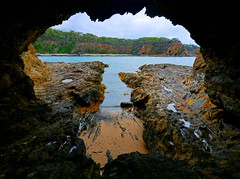 The view from within (elphweb) Tags: hdr highdynamicrange nsw australia coast coastal beach water ocean sea rock rocks rockformation cave
