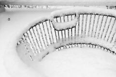 Snow on the Clam Basket (brucetopher) Tags: snow snowfall accumulation witner white cold frozen snowflake snowflakes snowstorm storm weather season seasonal black blackandwhite bw blackwhite monochrome mono