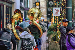 oom & pah (Ian Sane) Tags: ian sane images oompah men tubas walking crowd candid street photography christmas 2017 downtown portland oregon southwest morrison canon eos 5ds r camera ef70200mm f28l is usm lens