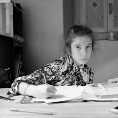 I'm doing homework (Hive Bee) Tags: bianconero blackandwhite homework fujifilm xt1 home table xf23mm seriex