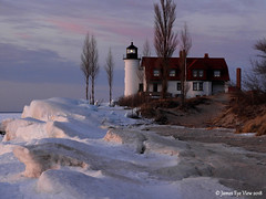 February Colors (JamesEyeViewPhotography) Tags: pointbetsie lighthouse sky snow winter clouds ice trees beach sand lake michigan lakemichigan february greatlakes northernmichigan nature landscape sunset jameseyeviewphotography