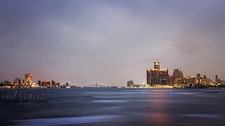 Detroit Skyline - Cloudy Dusk