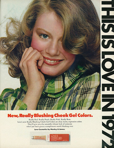 1972 Beauty Ad, Love Cosmetics, Really Blushing Cheek Gel Colors, with Model Shelley Hack