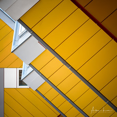 Yellow Submarine V (Alec Lux) Tags: pietblom rotterdam architecture building city cube cubism design detail details fragment fragments geometric geometry hexagon holland house houses kaleidoscope kubuswoningen netherlands structure urban water