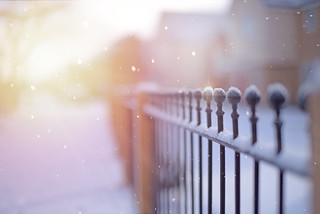 Sunsets and Snowflakes... #HFF #HappyFenceFriday #FenceFriday