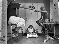 Neighbors (Beth Reynolds) Tags: neighborhood neighbors kids smokes porch documentary story blackandwhite life moment baby community
