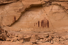 Detail of Great Gallery Panel of Barrier Canyon Style Pictographs in Horseshoe Canyon (Lee Rentz) Tags: barriercanyon barriercanyonstyle barriercreek canyonlandsnationalpark greatgallery holyghost horseshoecanyon horseshoecanyonunit navajosandstone thegreatgallery waynecounty america americanwest ancient archaic archeological archeology arid art autumn broken canyon cliff decorated figures holyghosts huntergatherer lines meaning nationalpark northamerica old painting panel pictograph pictographs pigment red rockart slickrock southwest southwestern spirit spiritual tall torso usa utah west western
