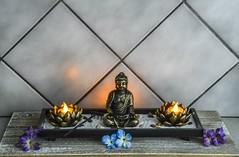 """Zen Garden"" (Beangrau12) Tags: zengarden candles flowers budda sand rake dogwood2018 week4 creativequietmoments tamron16300mm nikon3200 stones"